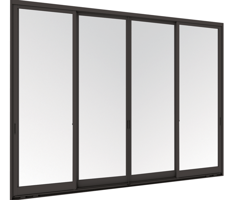 Entrance sliding door (4 panels on 2 tracks)