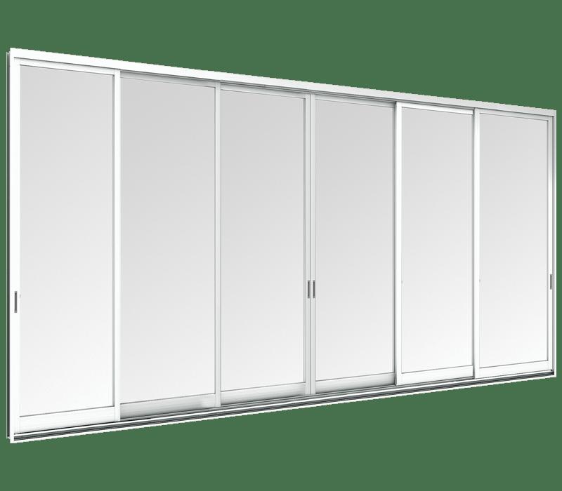 Aluminium Partition door - 6 panels on 3 tracks
